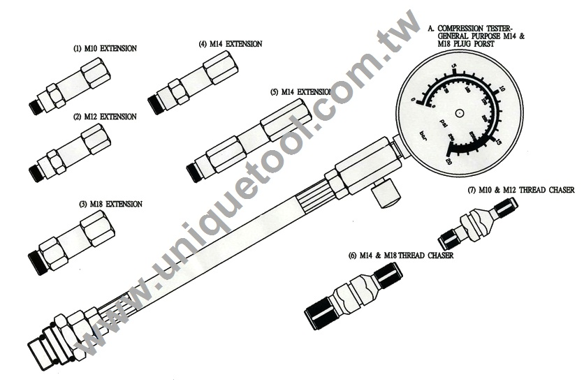 un07001-petrol engine compression tester set